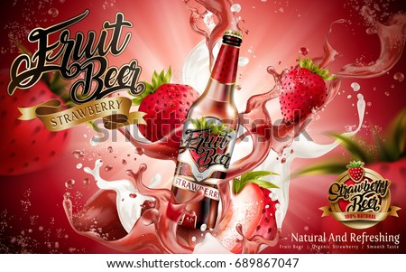 Shutterstock Strawberry fruit beer ads, premium fruit beer with strawberries and splashing beer in 3d illustration