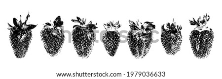 Strawberry grunge set. Abstract black and white strawberries. Organic berry. Unusual grunge berry. Village garden harvest. Farmers market food.