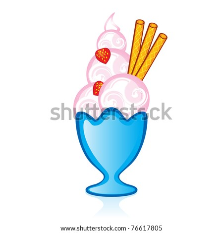 Strawberry ice cream with falafel tubes for the glass vase. Illustration for design on white background