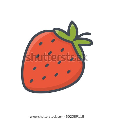 Strawberry icon fruits colored food