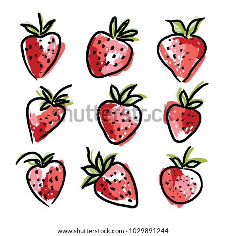 strawberry in sketch hand drawn