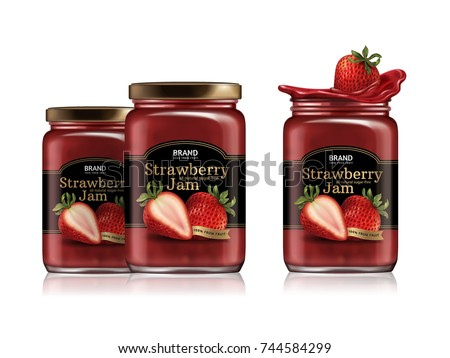 Strawberry jam package design, glass jar mockup with designed label and fresh fruit in 3d illustration isolated on white background