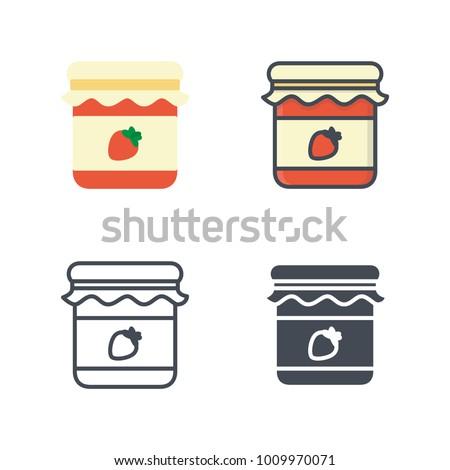 Strawberry jar vector icon