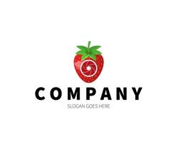 Strawberry Lens, Camera, Shutter, Photography Logo Concept. Vector Design Illustration. Symbol and Icon Vector Template.