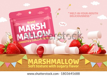 Strawberry marshmallow ad in 3d illustration, with cute hand drawn miniature people playing on the wooden table