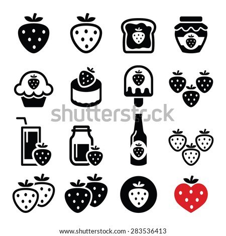 Strawberry, meals - food and drinks icons set