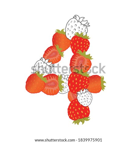 strawberry number four  vector