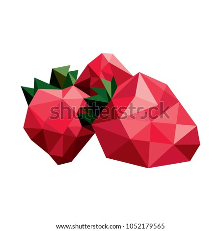 Strawberry of geometric figures in the style of low poly. Vector illustration.