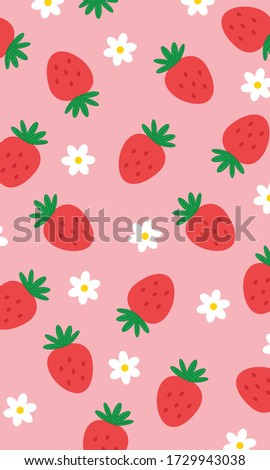 Strawberry Pattern, Red flower Strawberry, Strawberry Background, Strawberry Love Cards Vector Stock Vector Illustration.