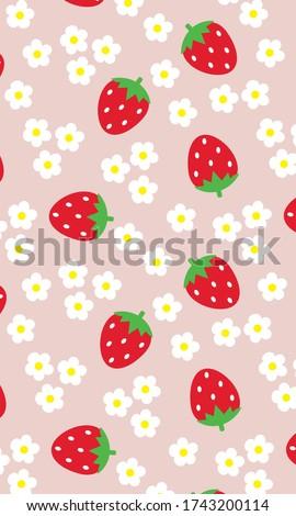 Strawberry Patterns, Flower Pattern, Red strawberry, Strawberry Backgrounds, Strawberry Love Cards Vector Stock Vector Illustration.