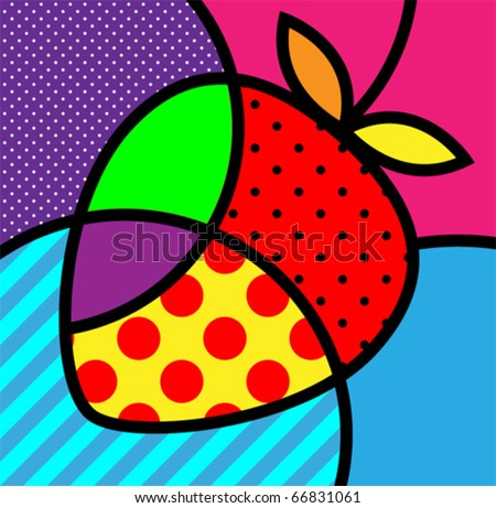 strawberry pop art fruits