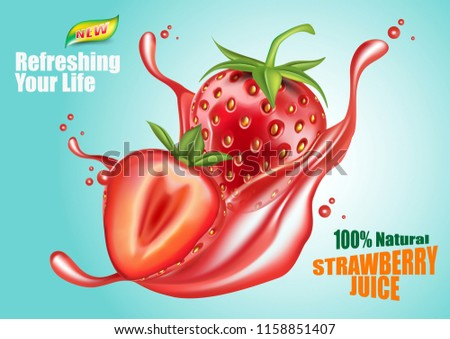 Strawberry realistic ripe fresh with green leaves isolated on a blue background. Vector 3d illustration. Of free space for your copy and branding.