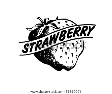Strawberry - Retro Clip Art - stock vector
