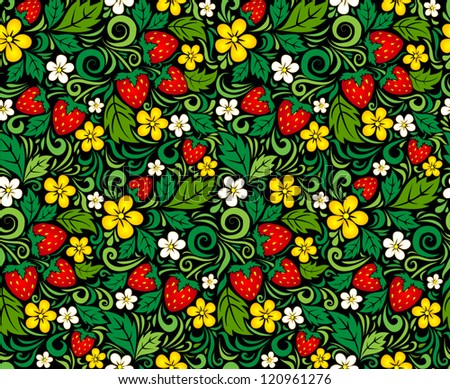Strawberry seamless pattern in traditional russian style Hohloma (a brand of Russian traditional ornaments used for painting on wooden things - spoons, dishes, etc.)