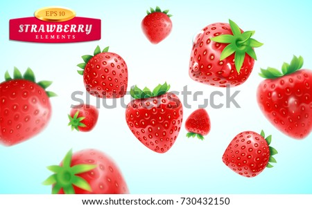 Strawberry set, detailed realistic ripe fresh strawberries with green leaves with water droplets isolated on a blue background. 3d illustration.