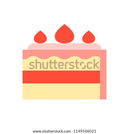 strawberry short cake, food and gastronomy set, flat icon