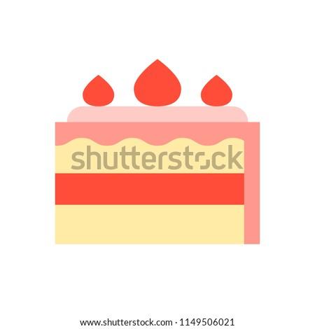 strawberry short cake, food and gastronomy set, flat icon