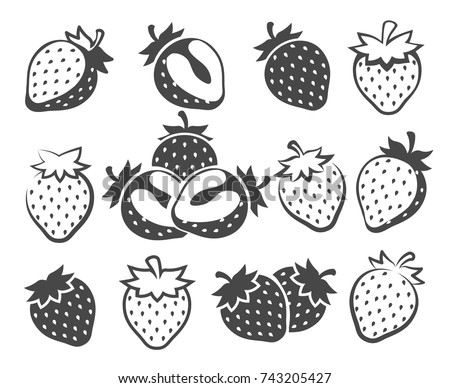 strawberry silhouettes vector