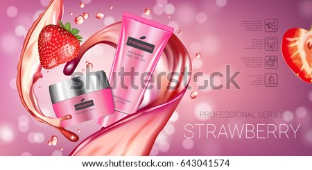 Strawberry skin care series ads. Vector Illustration with honey smoothing cream tube and container. Horizontal banner.