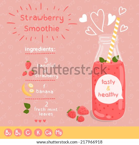 Strawberry smoothie recipe With illustration of ingredients and vitamin Doodle style