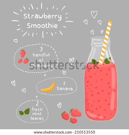 Strawberry smoothie recipe. With illustration of ingredients. Doodle style