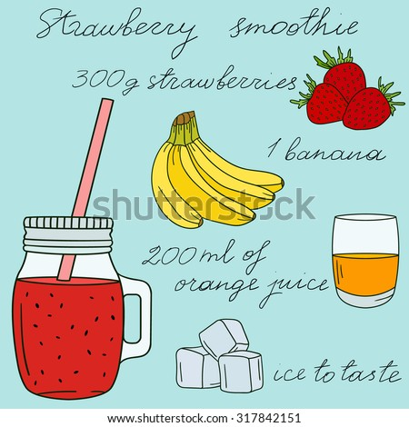 strawberry smoothies hand drawn