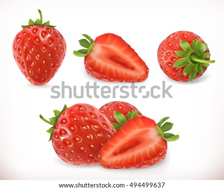 Shutterstock Strawberry. Sweet fruit. 3d vector icons set. Realistic illustration
