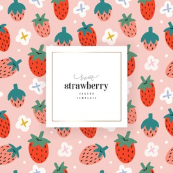Strawberry template for package design with space for logo or text, trendy vector hand drawn illustration of summer red berries with white flowers, good for tea or dessert packaging