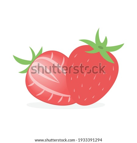 Strawberry vector illustration isolated on white background. A strawberry and a slice of strawberry vector.