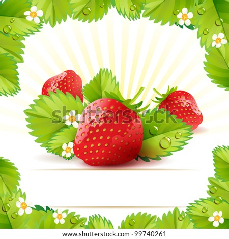 Strawberry with frame of leafs