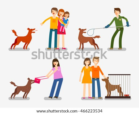 stray dog or abandoned dog set