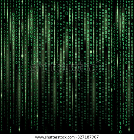 stream of binary code on screen