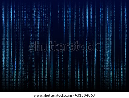 Stream of binary code on screen. Abstract vector background. Data and technology, decryption and encryption, computer matrix background with the cyan symbols and numbers. Vector illustration. EPS 10