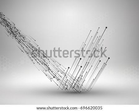 Stream of connected lines and dots bouncing off the floor. Connection concept. Technology background. Vector illustration. Foto d'archivio ©
