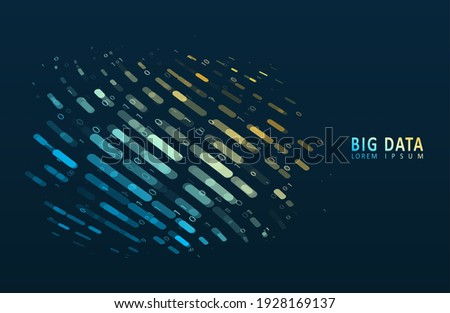 Stream of encoded data. Abstract digital code visualization. Artificial intelligence and machine learning. Big data code representation. Stock foto ©