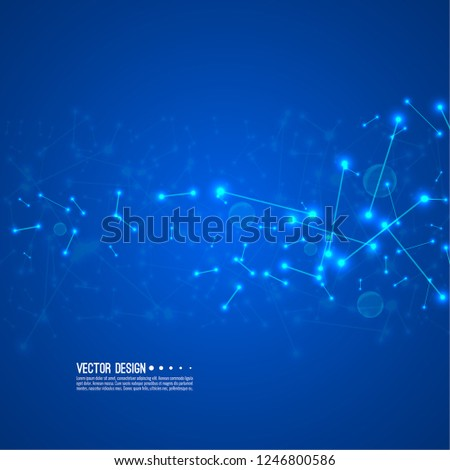 Stream of molecular structures and nano particles. High technology process. Science and neural network concept. Vector abstract background.