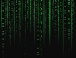 Stream on binary codes on black background