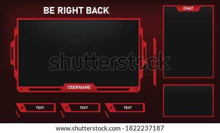 Stream overlay Be Right Back Screen Red and Black theme with Panel and Chat Box, Vector Illustration