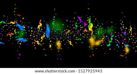 Streamers and confetti. Festive tinsel and foil ribbons. Confetti falling rain on black background. Bewitching paty overlay template. Imaginative celebration concept.