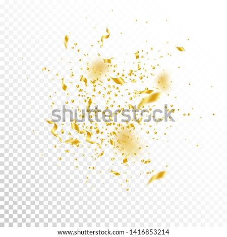 Streamers and confetti. Gold tinsel and foil ribbons. Confetti explosion on white transparent background. Awesome paty overlay template. Adorable celebration concept.