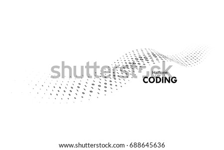 Streaming binary code. 3d wave shape with numbers 1, 0. Vector technology illustration. Dynamic elements for design. Coding, cryptography, programming concept. Software development logo