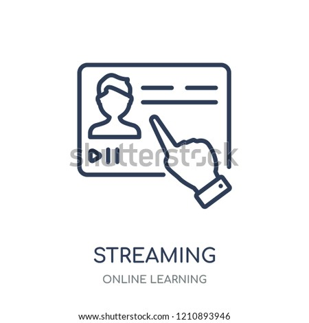 Streaming icon. Streaming linear symbol design from Online learning collection.