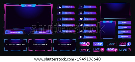 Streaming screen panel overlay design template neon theme. Live video, online stream futuristic technology style. Abstract digital user interface. Live streaming button. Vector 10 eps
