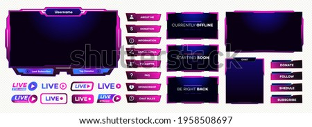 Streaming screen panel overlay game template neon theme. Live video, online stream futuristic technology style. Abstract digital user interface. Live streaming button. Vector 10 eps