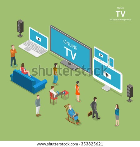 Streaming TV isometric flat low poly vector illustration. People watch online TV on different internet-enabled devices like PC, laptop, TV set tablet, smartphone.