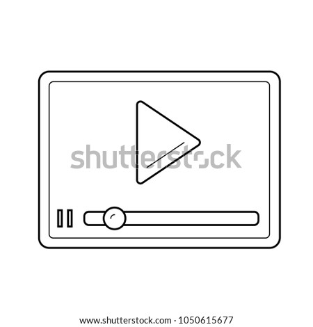 Streaming video player vector line icon isolated on white background. Streaming player line icon for infographic, website or app. Scalable icon designed on a grid system.