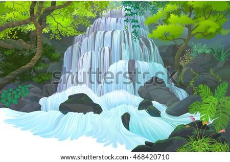 streams of water flowing down