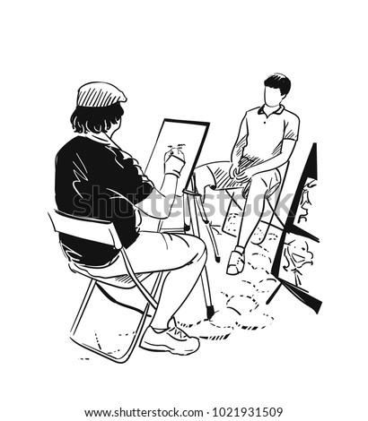 stree artist vector illustration portrait