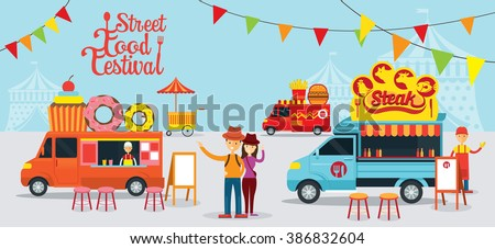 Street  and Fast Food, Truck, Festival, Drink, Dessert, Steak, Burger