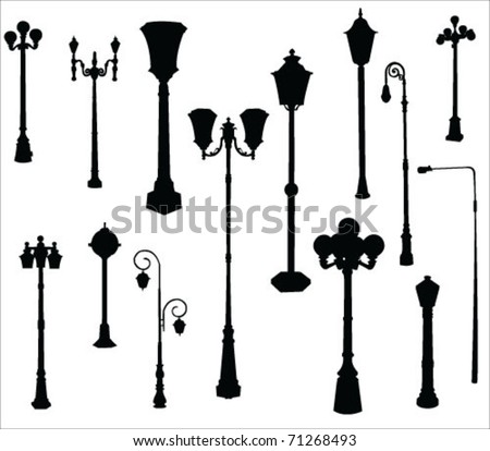 street and garden lamps vector